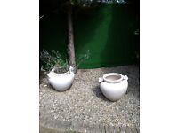 4 Sturdy White Decorative Plastic Planters