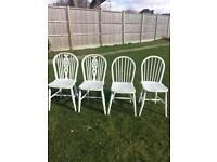 4 Painted Chairs, Very pale blue/grey