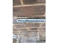 Revolving woodmanstearne card rack stand on wheels 64 cm High