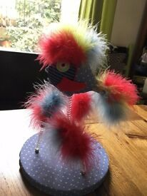 Cat fluffy chicken feathers spring toy teaser game