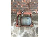 Old manual 1 ton winch. Worm drive. 25+m 8mm galvinised wire.