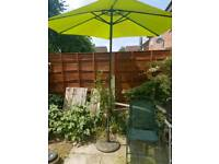 Lime green patio parasol and stand