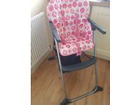 Girls Mothercare Pink Highchair