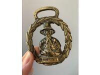 Vintage Horse BRIDLE CHARM Medallion SOLID BRASS Decoration Harness Saddle Tack Welsh costume