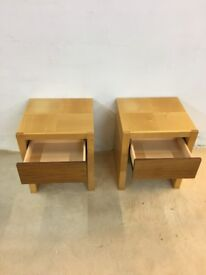 2 x Beside tables with single drawer