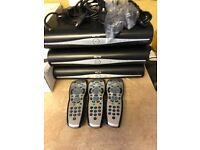 Sky+HD boxes x3 with 3 remotes and 1 magic eye