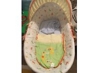 Baby Moses basket, playmat, sit up giraffe and pillow