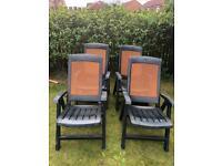 x4 Green Plastic Reclining Garden Chairs