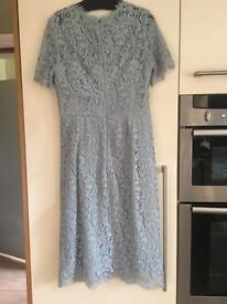 Hobbs, duck egg blue, lace dress, size 10