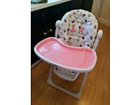 Pink Owl Pattern Baby Highchair for £10 Only