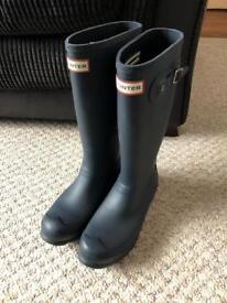Matt Navy Blue Hunter Wellington Boots - Size 4