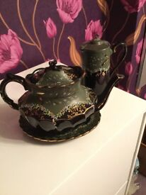 Large Ornate Teapot with tray and Coffee/Chocolate pot