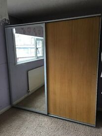 Ikea Pax double wardrobe - two sliding doors. One mirrored and one beech. 200x66x201. Exc. Cond.