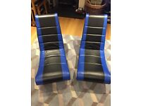 2 Blue Floor Gaming Chairs, very comfortable. can Fold up too for easy storage.