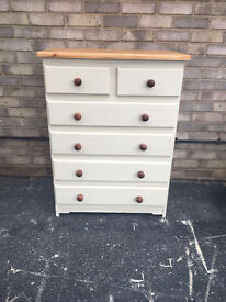 CHEST OF DRAWERS PAINTED SOLID WOOD MODERN PINE STYLE