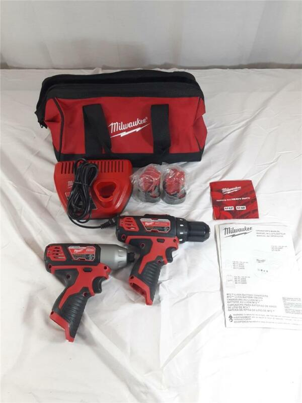 Milwaukee 2407-20/2462-20 Drill/Impact 12V Combo With 2 Batteries, Chrger, Bag!