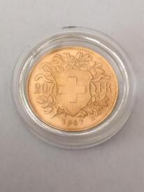 Swiss Gold 20 franc coin