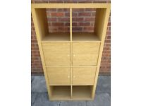 Oak effect shelving unit with inserts
