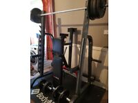 Squat Rack + Bench + 225kg Olympic plates + 7ft Olympic Bar