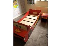 Disney Lightning McQueen Car Bed for Toddlers with Matching Side Table