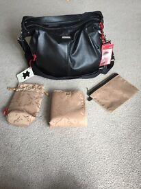 Storksak Catherine Black Leather Changing Bag