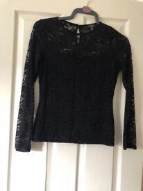 Lipsy Black lace top size 12