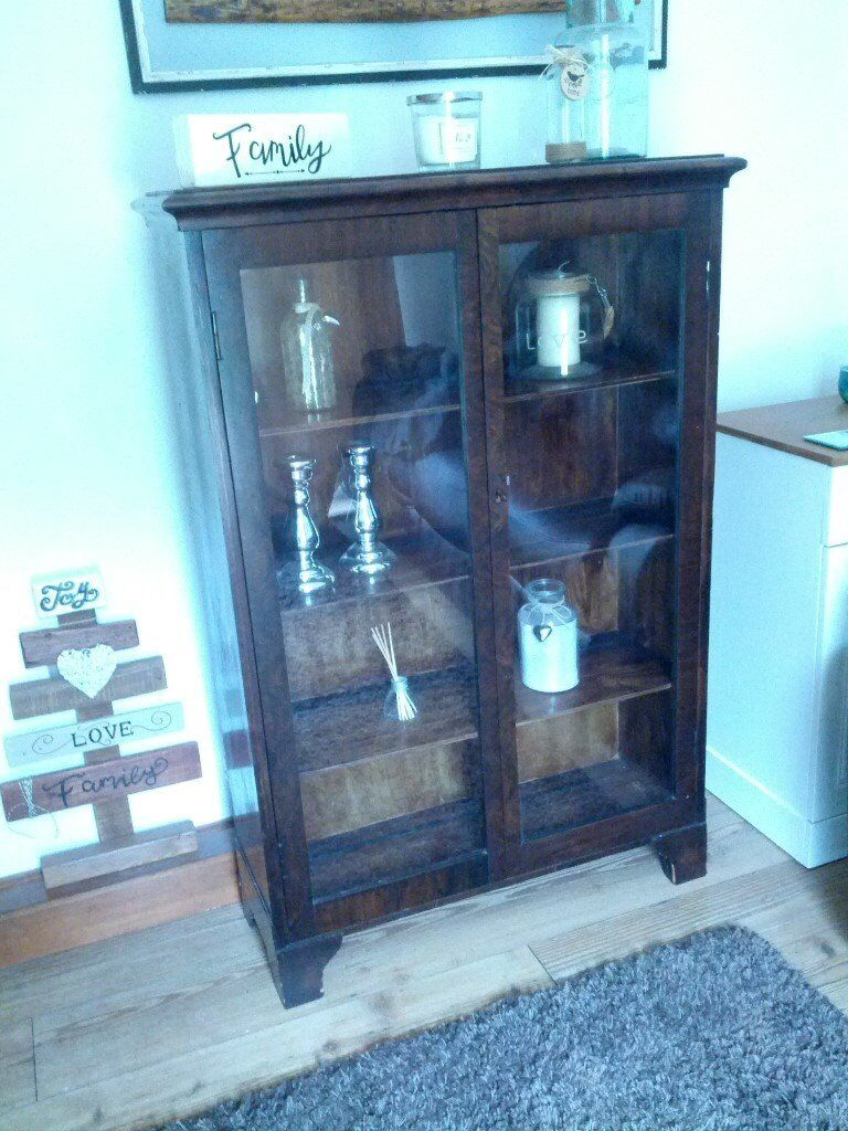Vintage Solid Dark Wood Display Cabinet With Gl Doors