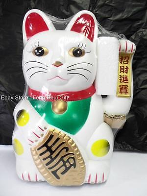 """12"""" WHITE Large BIG Chinese Lucky Good Luck Waving Hand Paw Up Fortune Kitty Cat"""