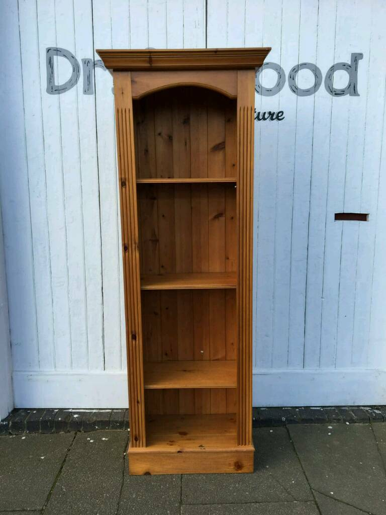 Tall Slim Solid Pine Bookcase In Great Condition