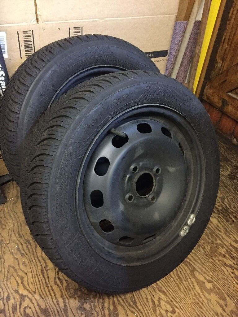 2X FORD WHEELS & SNOW-WINTER TYRES & 15'' STEEL WHEELS FOR FORD 4 STUD PATTERN + WHEEL NUTS
