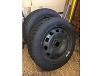 2X SNOW / WINTER TYRES & 15'' STEEL WHEELS FOR FORD FIESTA & OTHER WITH SAME STUD PATTERN + NUTS