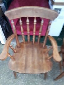 2 wood carver chairs. One has a slihht wobble but this could be sorted