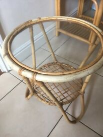 Vintage Boho Bamboo Wicker Glass Round Side Small Plant Flower Table