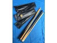 Bundle of Pool/Snooker Balls in Box + 2 Cues & Cross Cue £40 ono