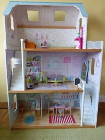 Barbie Dolls Wooden House with Furnitures