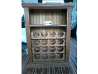 Solid pine wine rack with shelf