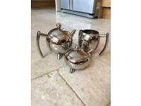 Stainless steel Teapot, milk jug and sugar bowl set