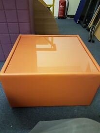 Funky Faux Leather Orange Office Coffee table with Glass top