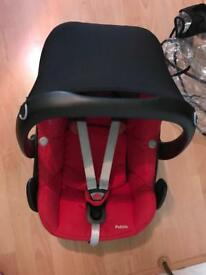 Car seat , rain cover and mirror. Maxi cosi pebble