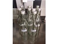 8 x IKEA flip top glass bottles