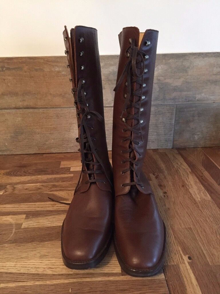FRENCH CONNECTION LEATHER BOOTS SIZE 8 BROWN BIKER LACE UP