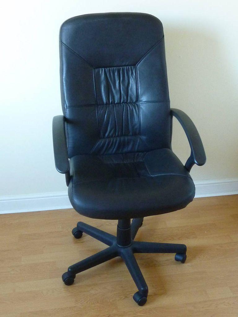 Ikea Allak Swivel Chair Black Split Leather Adjustable