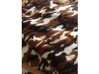 Brown Army Print Fleece Fabric 4m. As new!