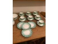 Vintage Tea Cups and Saucers, Sideplates, Jug and Bowl (23 pieces)