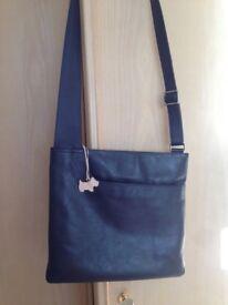 Radley leather handbag, dark blue, perfect condition.