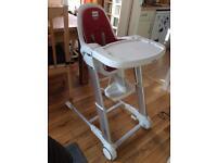 Inglesina foldable high chair, tilts and height adjustable