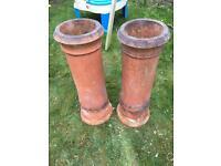 Pair 800mm reclaimed chimney pots