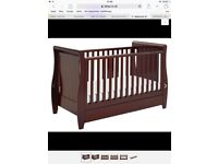 Brown Sleigh Cot Bed with Drawer for £85.00