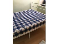 New White metal frame double bed with mattress