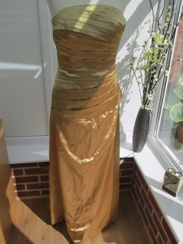 GOLD SATIN BRIDESMAID/PROM DRESS SIZE 8/12